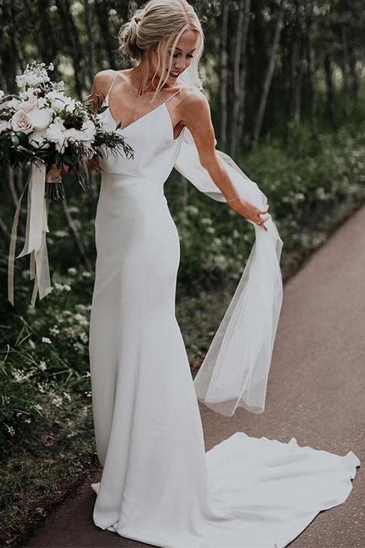 Robe de mariee d'ete blanche Boho Column