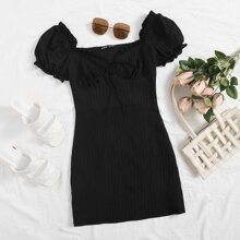 Plus Tie Neck Frill Trim Ruched Bust Dress