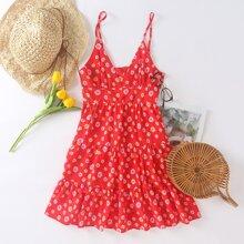 Mini Cami Kleid mit Rueschen