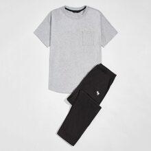 Schlafanzug Set mit Taschen Flicken und Hirsch Stickereien