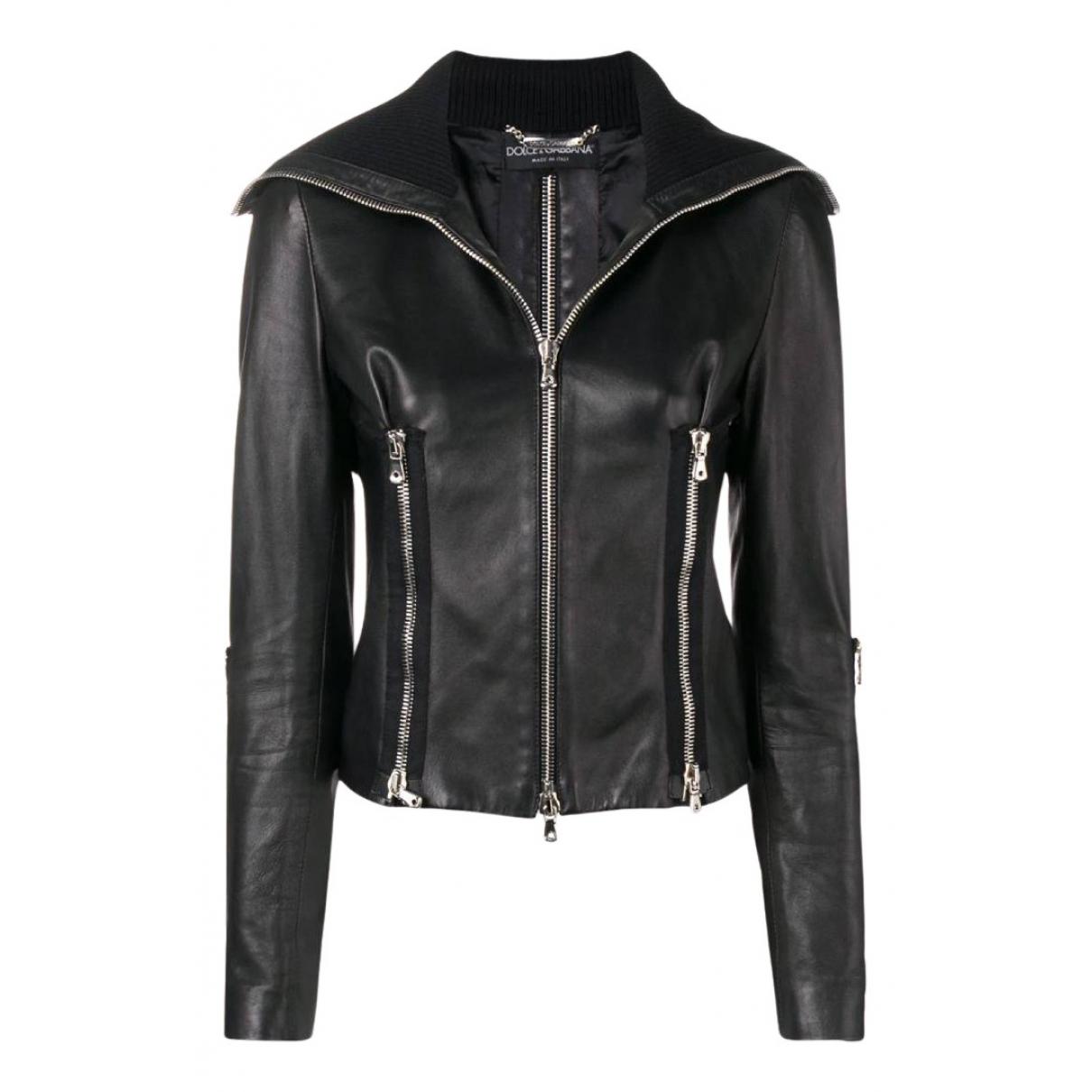 Dolce & Gabbana \N Lederjacke in  Schwarz Leder