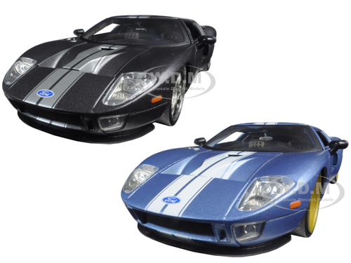 2005 Ford GT Black & Blue 2 Cars Set 1/24 Diecast Model Cars by Jada