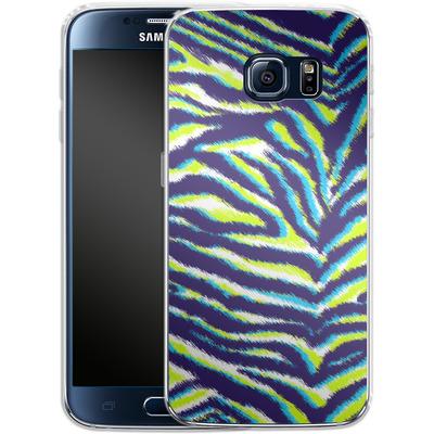 Samsung Galaxy S6 Silikon Handyhuelle - Neon Zebra von caseable Designs