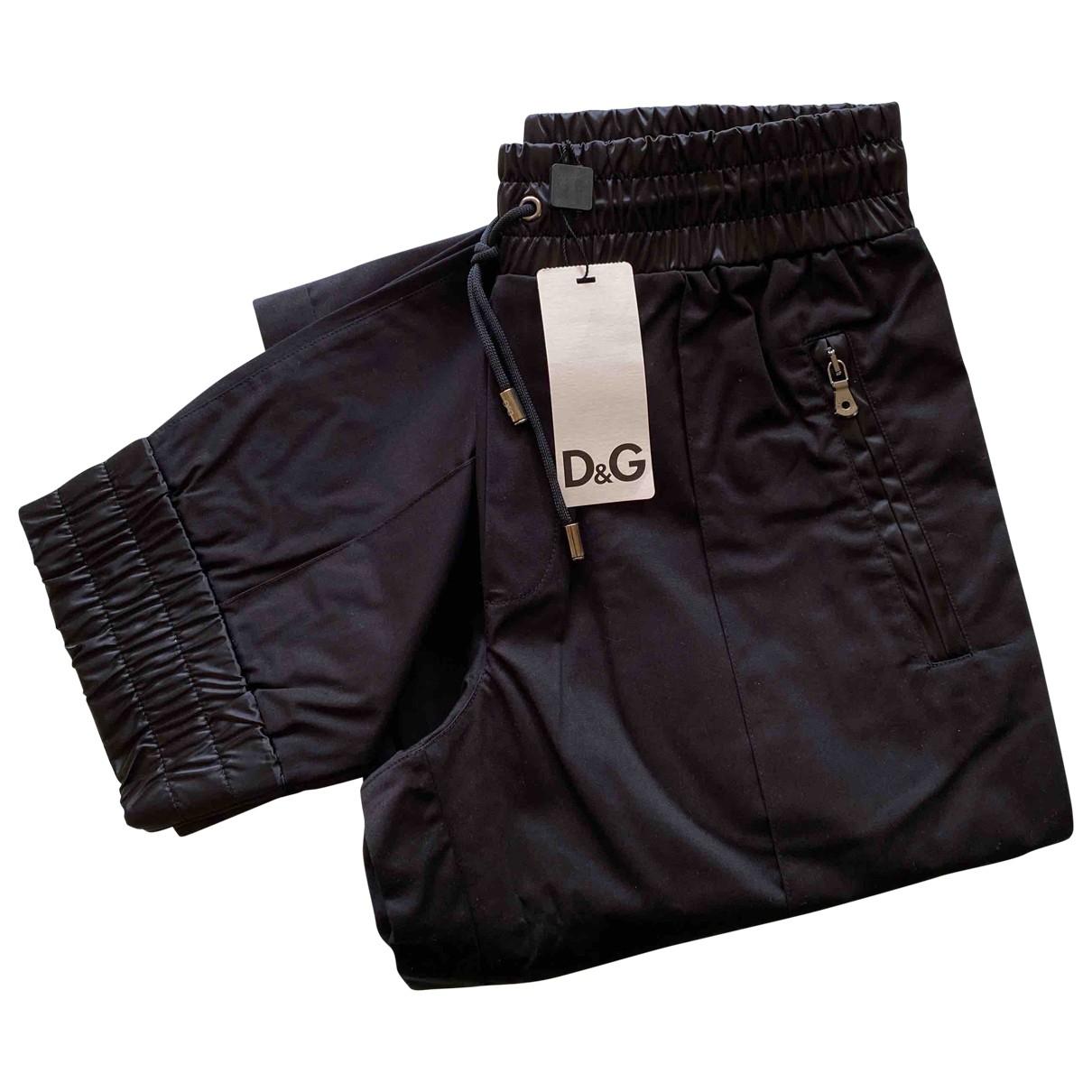 D&g \N Black Cotton Trousers for Men 44 IT