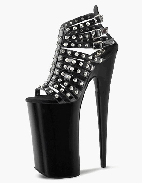 Milanoo Black Studded PU Leather Sexy Sandals