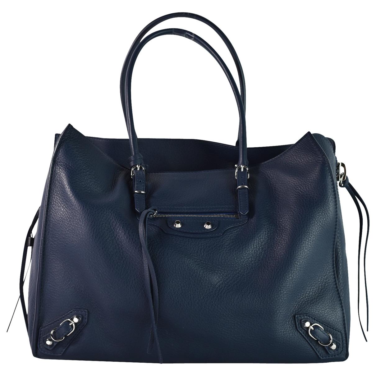 Balenciaga Papier Handtasche in  Blau Leder