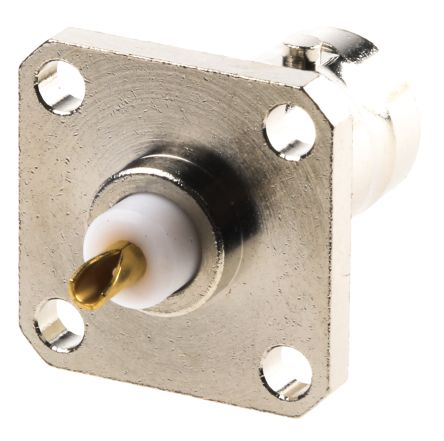 Radiall Straight 50Ω Flange MountBulkhead Fitting BNC Connector, jack, Nickel, Solder Termination