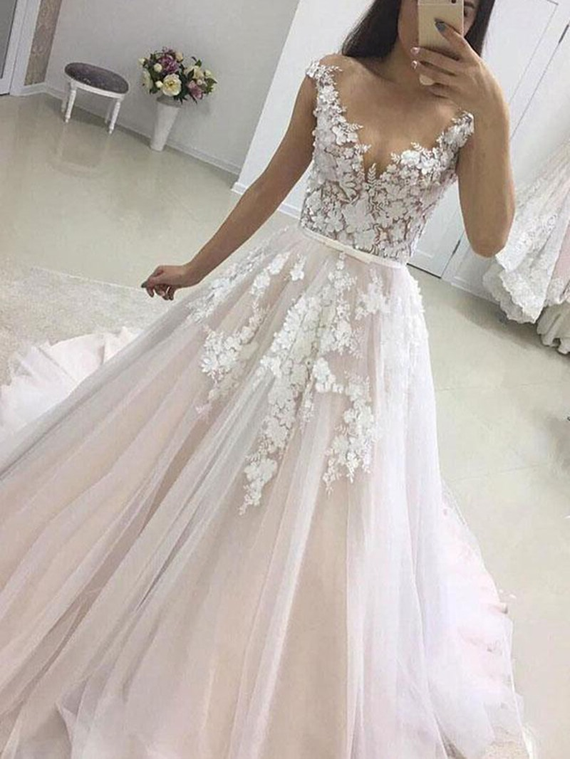Ericdress Scoop Neck Appliques Cap Sleeve Wedding Dress