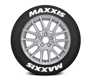 Tire Stickers MAX-1921-1-8-W Permanent Raised Rubber Lettering 'Maxxis' - 8 Of Each - 19
