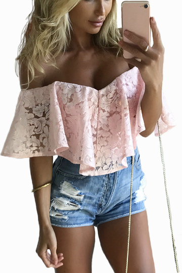 Yoins Pink Off-The-Shoulder Frill Overlay Lace Bodysuit