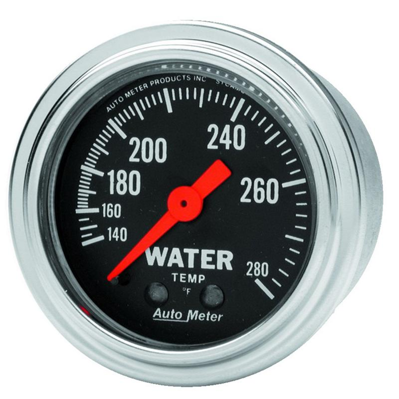AutoMeter GAUGE; WATER TEMP; 2 1/16in.; 140-280deg.F; MECHANICAL; TRADITIONAL CHROME