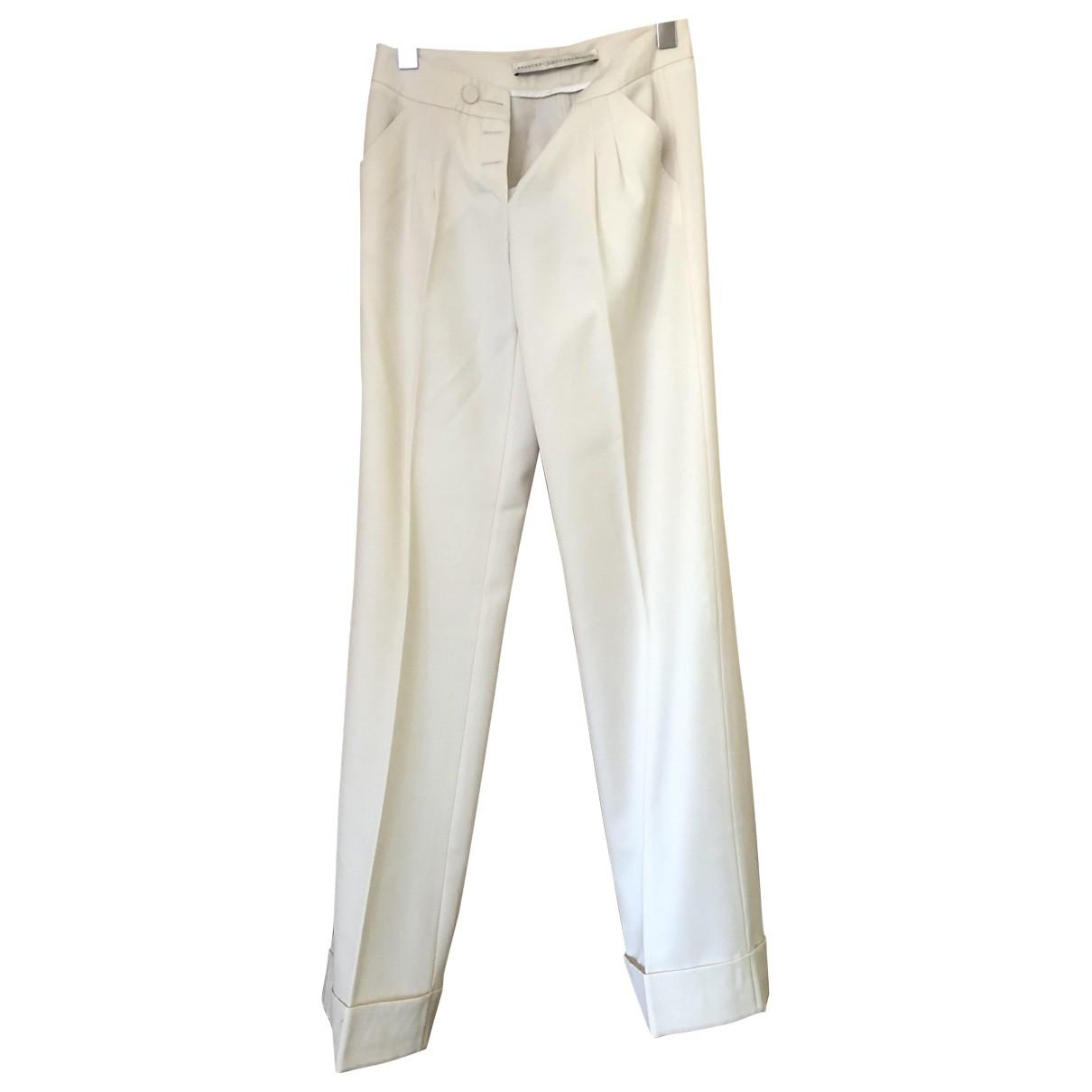 Francesco Scognamiglio \N White Wool Trousers for Women 40 IT