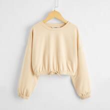Pullover mit sehr tief angesetzter Schulterpartie und Knoten vorn