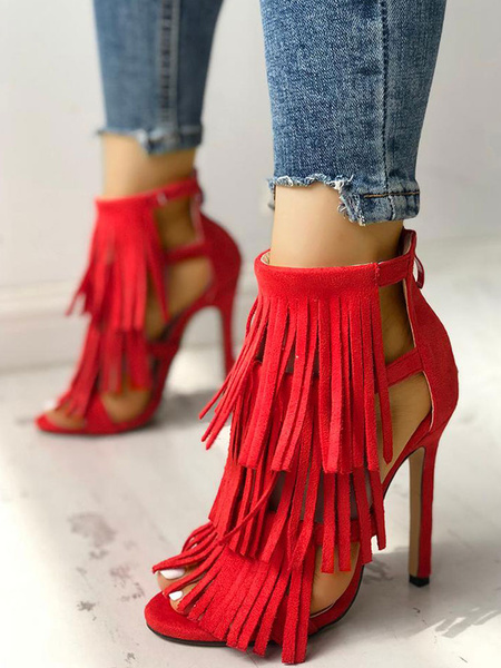 Milanoo High Heel Sandals Womens Tassels Fringed Open Toe Ankle Strap Stiletto Heel Sandals