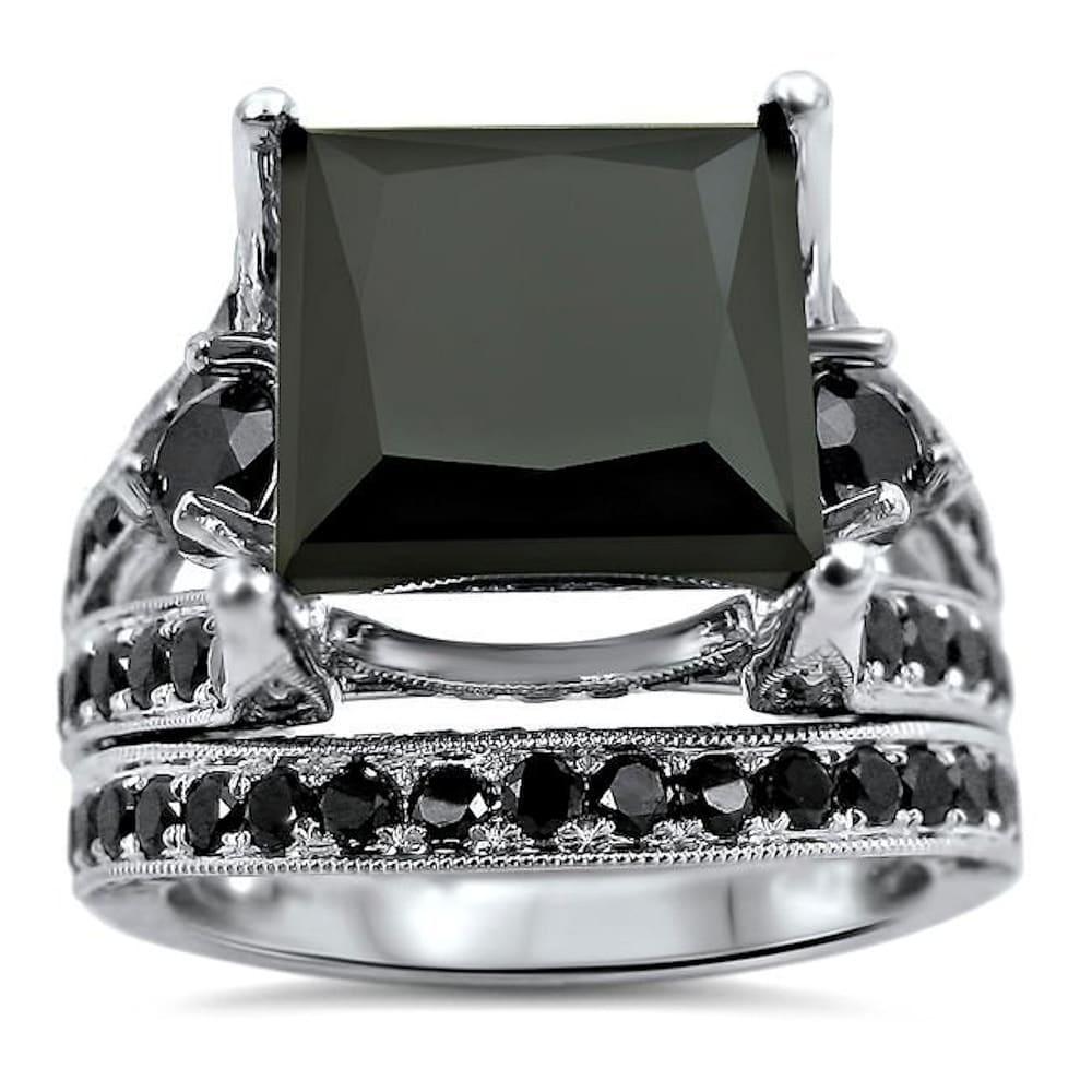 14k White Gold 9 & 1/2ct Black Princess Cut Diamond Engagement Ring Bridal Set (7.5)