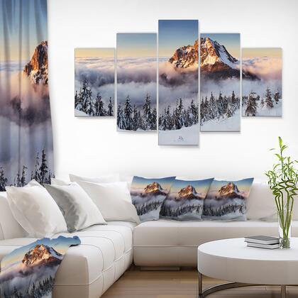 MT7041-373 Winter Mountain Landscape - Multipanel Photography Metal Wall Art - 60X32 - 5 Panels Diamond