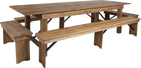 XA-FARM-7-GG HERCULES Series 9 x 40 Antique Rustic Folding Farm Table and Four Bench