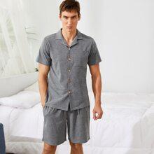 Einfarbiger Schlafanzug Set mit Reverskragen