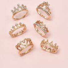 6 Stuecke Ring mit Strass und Krone Dekor