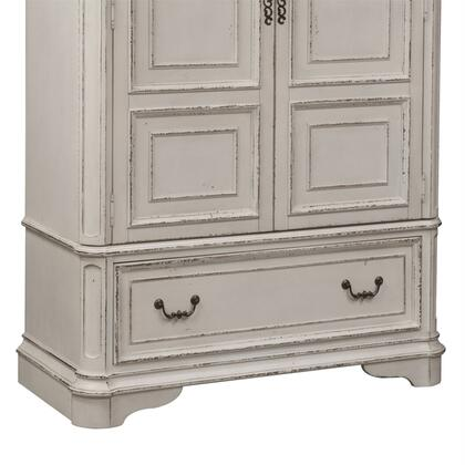 Magnolia Manor 244-BR46B Armoire Base with Antique Brass Knob and Bail Hardware in Antique White