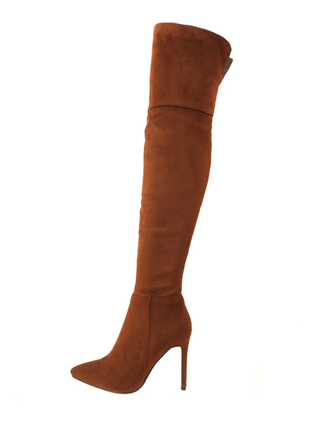 Milanoo Thigh High Boots Womens Micro Suede Pointed Toe Stiletto Heel Over The Knee Boots