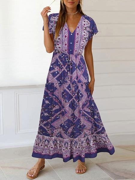 Milanoo Boho Maxi vestidos de manga corta con cuello en V vestido floral