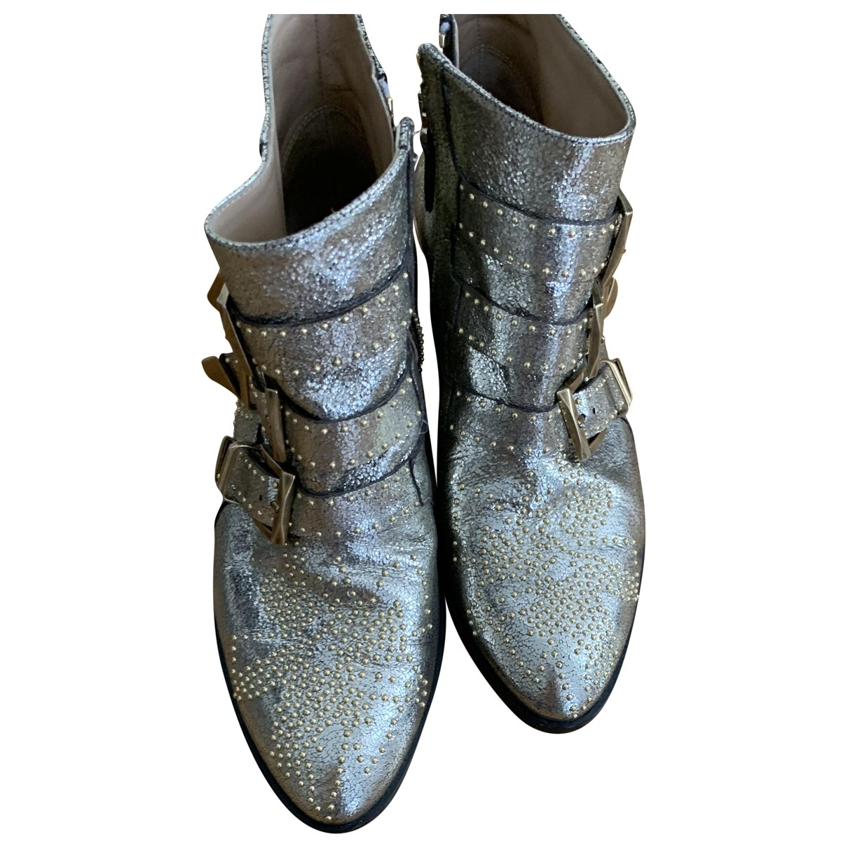 Chloé Susanna Silver Leather Ankle boots for Women 36 EU