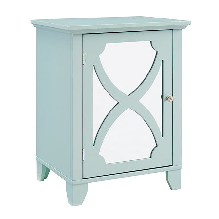 Winter Small Mirror Door Accent Cabinet, One Size , Green