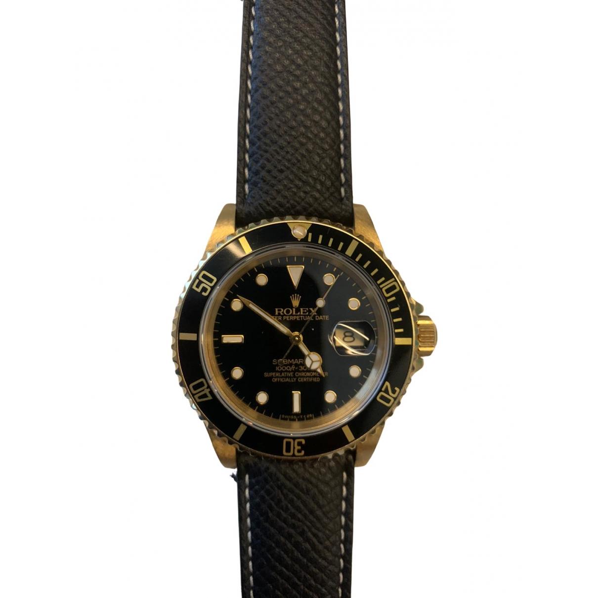 Rolex - Montre Submariner pour homme en or jaune - noir