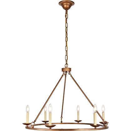 LD6010D32G Maine 6 Light 32 inch Vintage Gold Chandelier Ceiling