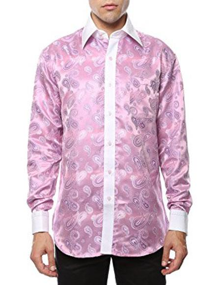 Men's White Shiny Satin Floral Dress Shirt Stage 2 Toned Woven Casual
