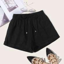 Shorts bajo de doblez de cintura con cordon