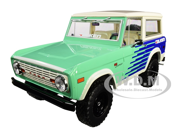 1976 Ford Bronco Green and Blue with Cream Top