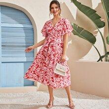 Vestido linea A con lazo con estampado floral