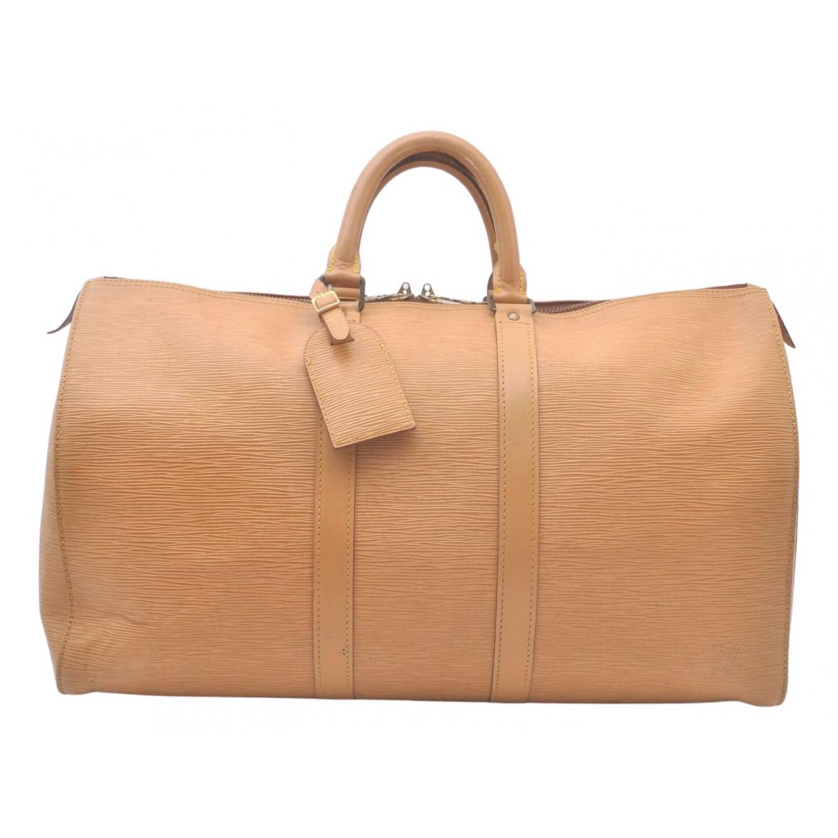 Louis Vuitton - Sac de voyage Keepall pour femme en cuir - beige