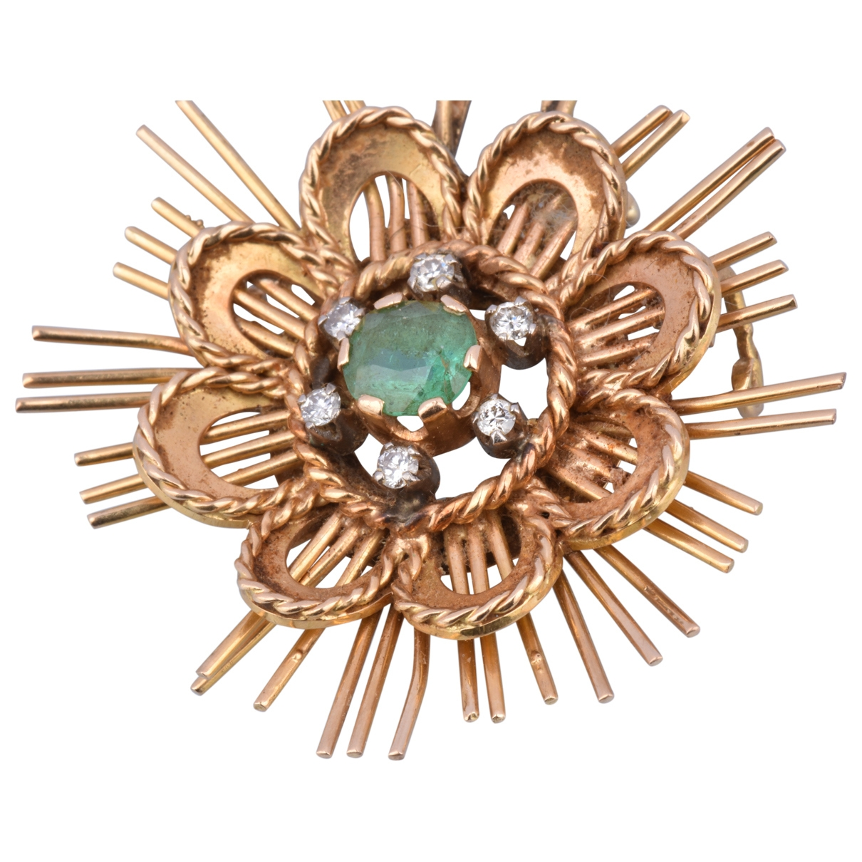 Non Signé / Unsigned Motifs Floraux Green Yellow gold Pins & brooches for Women \N