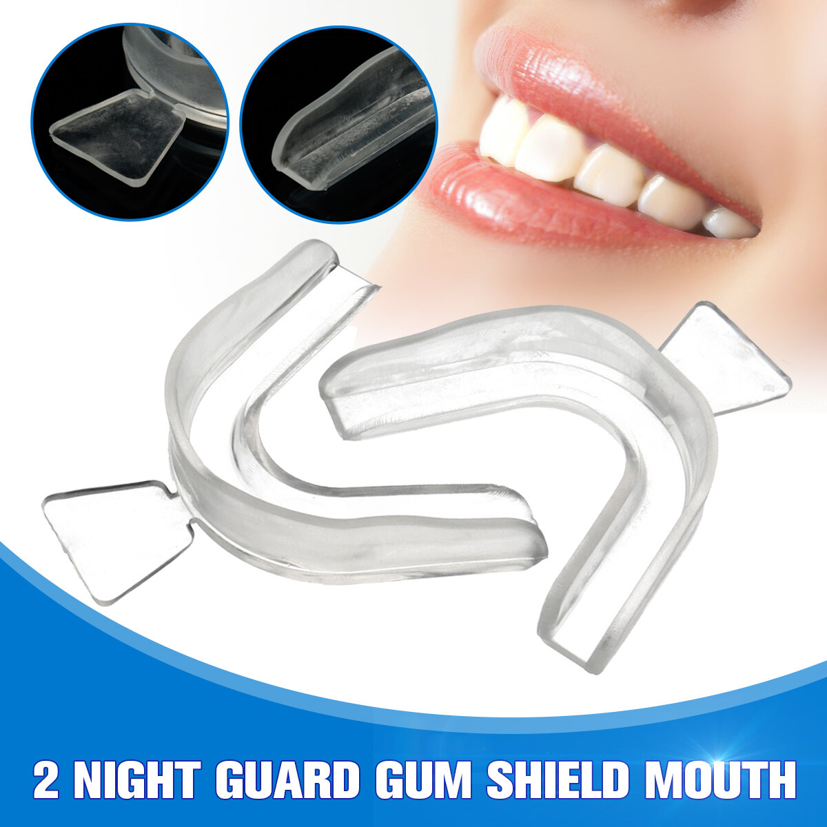 2Pcs Transparent Night Guard Teeth Whitening Grinding Mouth Trays Shield Gum Dental Equipment