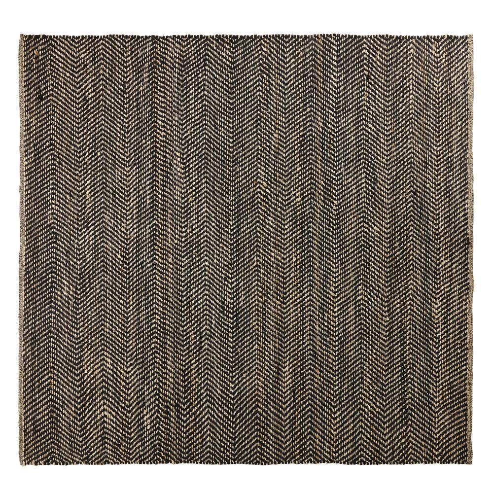 Teppich aus Baumwolle und Jute in Schwarz und Kastanienbraun mit Fischgraetmuster 200x200
