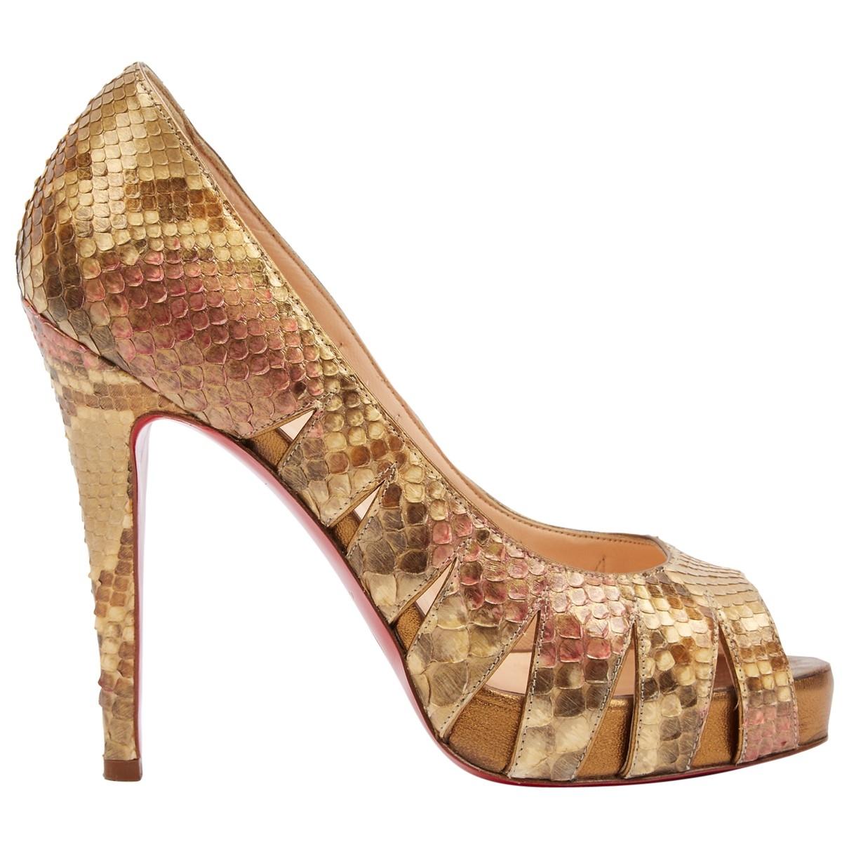 Christian Louboutin \N Gold Python Heels for Women 36.5 EU