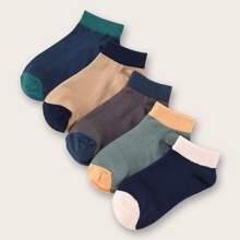 5pairs Men Color Block Socks