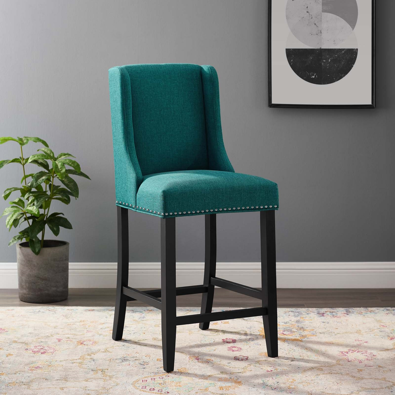 Baron Upholstered Fabric Counter Stool in Teal