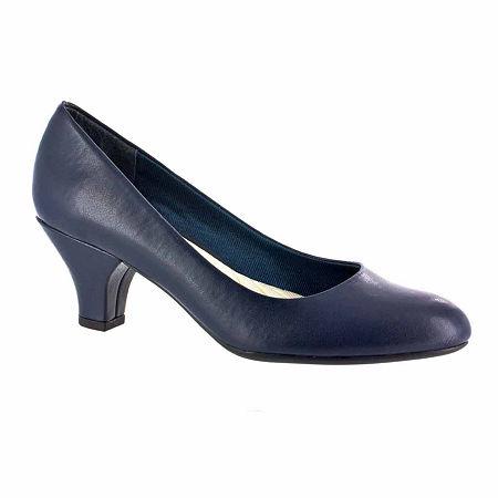 Easy Street Womens Fabulous Pumps Cone Heel, 6 Medium, Blue