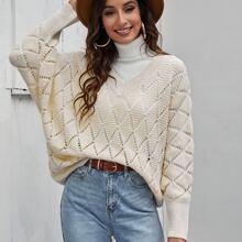 Batwing Sleeve Argyle Pattern Sweater