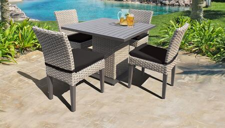 Florence Collection FLORENCE-SQUARE-KIT-4ADCC-BLACK Patio Dining Set with 1 Table   4 Side Chairs - Grey and Black