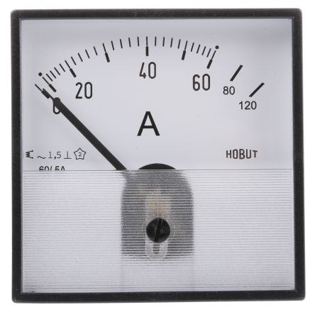 HOBUT Analogue Panel Ammeter 0/60/120A For 60/5A CT AC, 72mm x 72mm Moving Iron