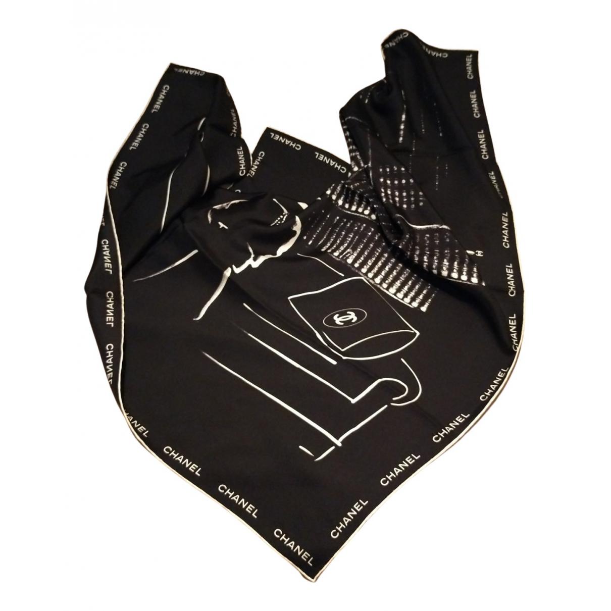 Chanel - Foulard   pour femme en soie - noir