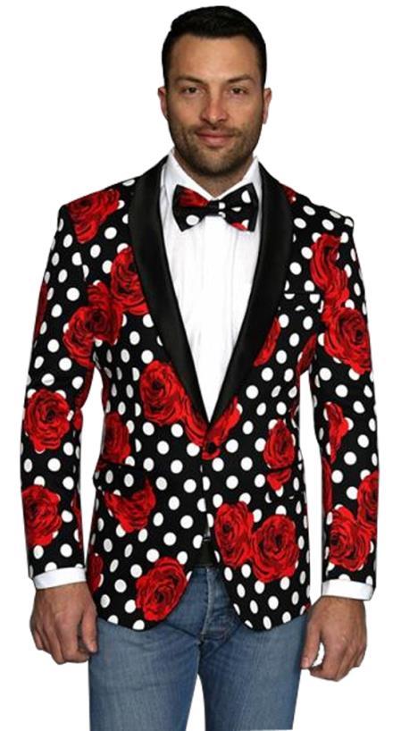 Mens Floral Polka dots Designed Black Shawl Lapel Sport Coat Blazer