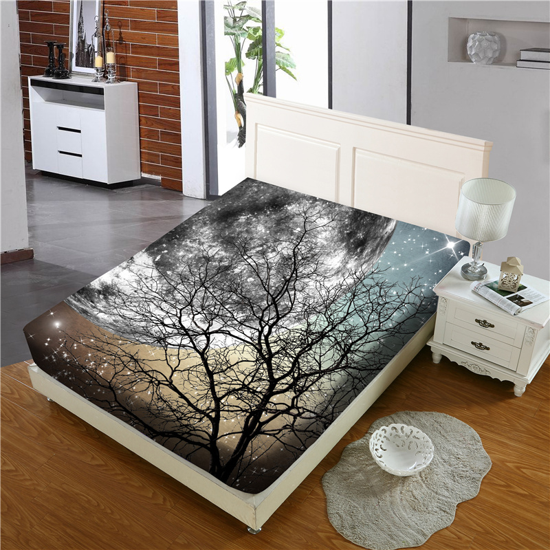 Black Branch and Moon Reactive Printing 1-Piece Polyester Bed Cover / Mattress Cover