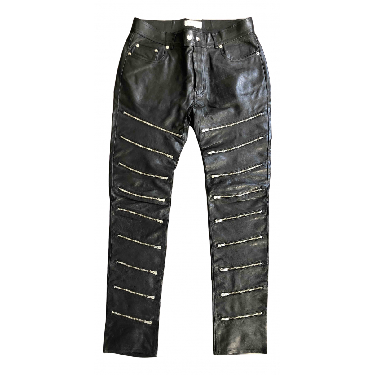 Saint Laurent N Black Leather Trousers for Men 50 IT