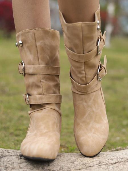 Milanoo Women Mid Calf Boots Grey Round Toe Buckle Wide Calf Boots Boots